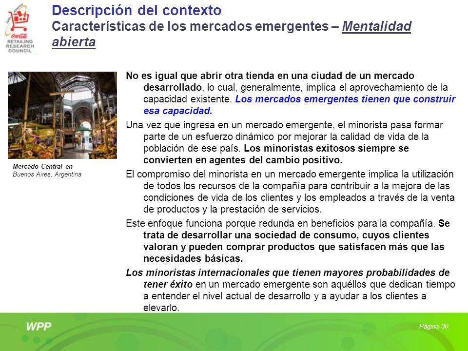 Descripción del contexto Características de los mercados emergentes – Mentalidad abierta