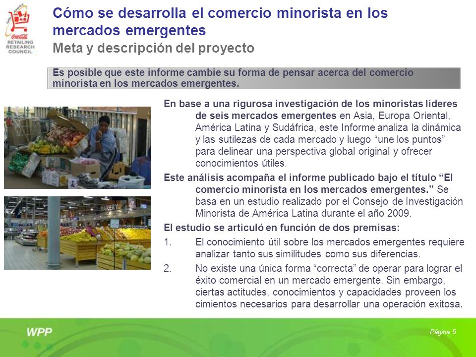 Cómo se desarrolla el comercio minorista en los mercados emergentes Meta y descripción del proyecto