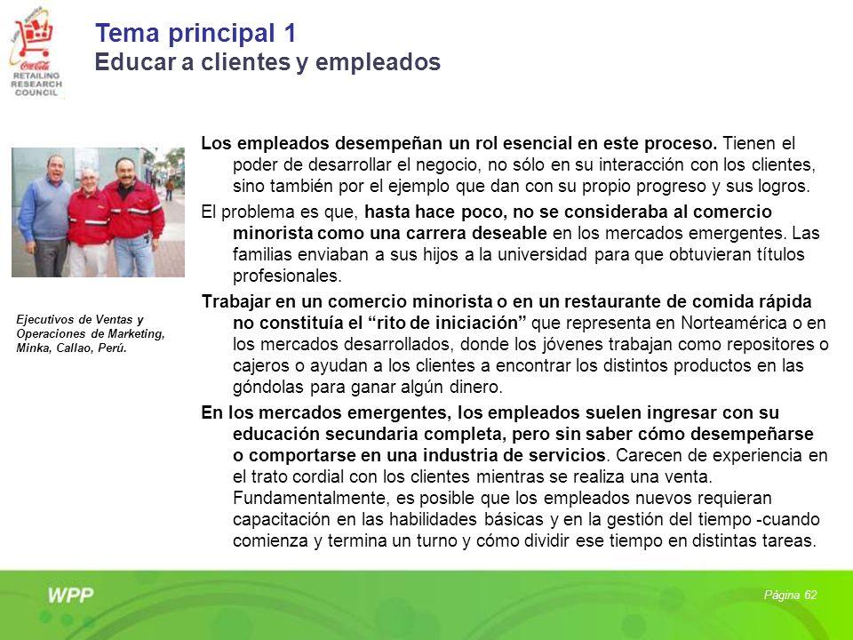 Tema principal 1 Educar a clientes y empleados