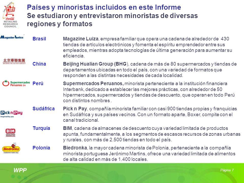 Países y minoristas incluidos en este Informe