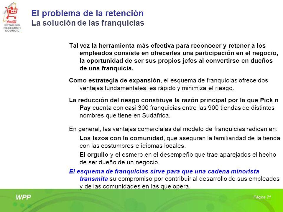 El problema de la retención La solución de las franquicias