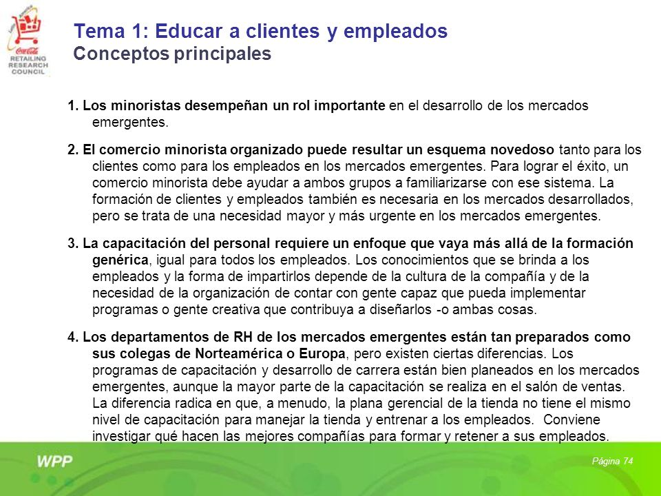 Tema 1: Educar a clientes y empleados Conceptos principales