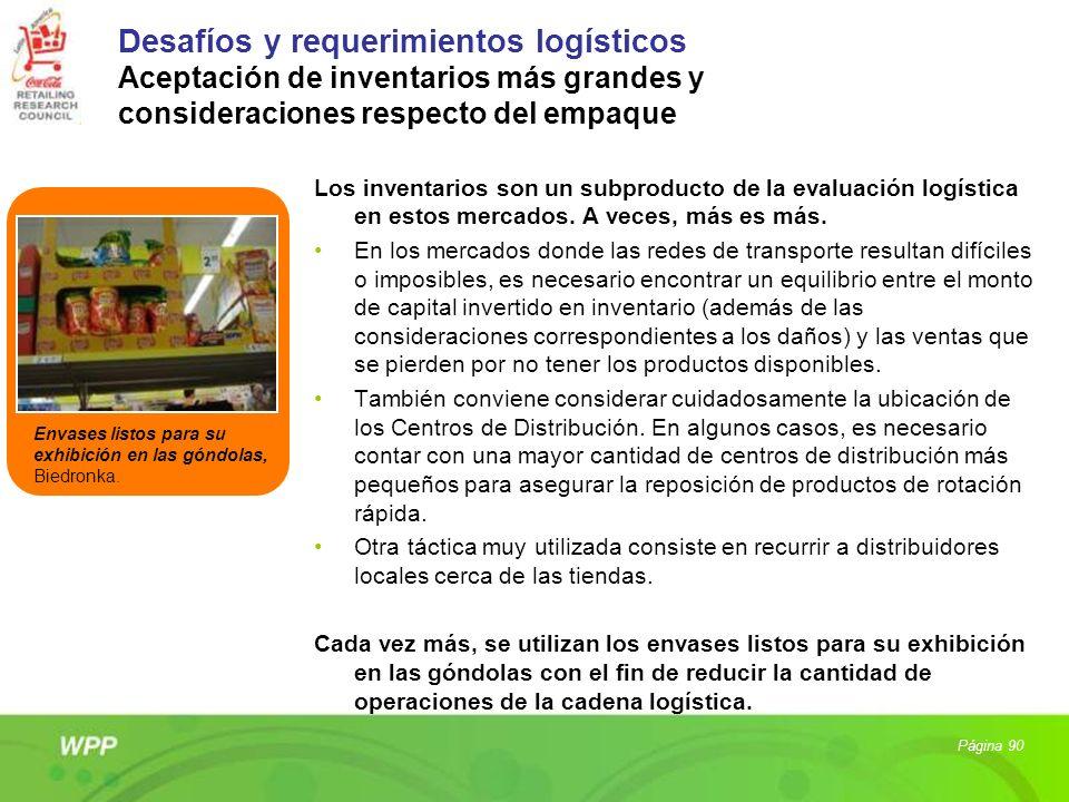 Desafíos y requerimientos logísticos Aceptación de inventarios más grandes y consideraciones respecto del empaque