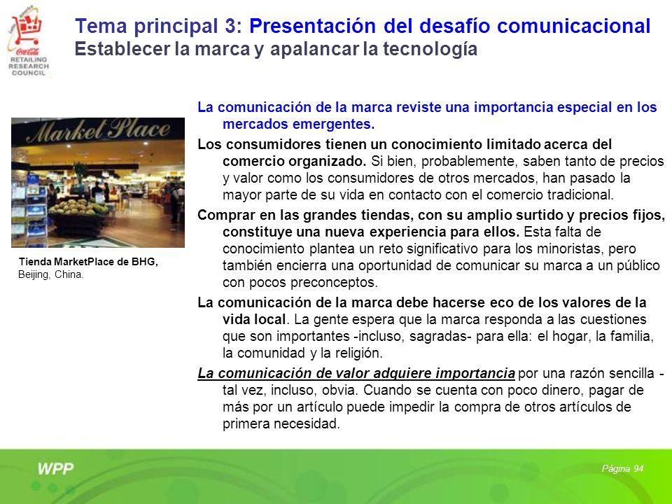 Tema principal 3: Presentación del desafío comunicacional Establecer la marca y apalancar la tecnología