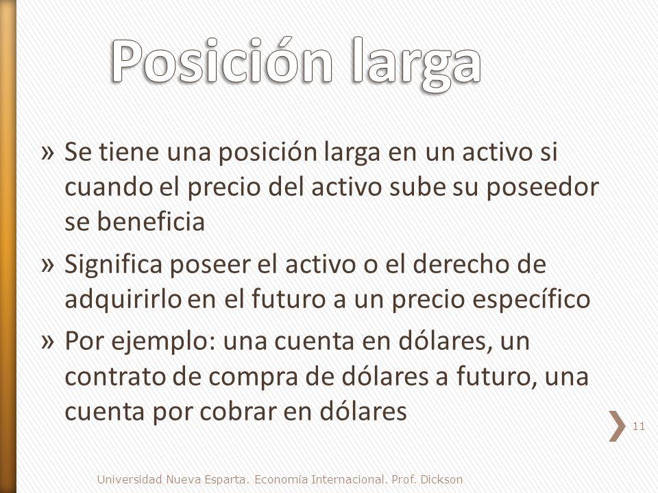 Posición larga Se tiene una posición larga en un activo si cuando el precio del activo sube su poseedor se beneficia.