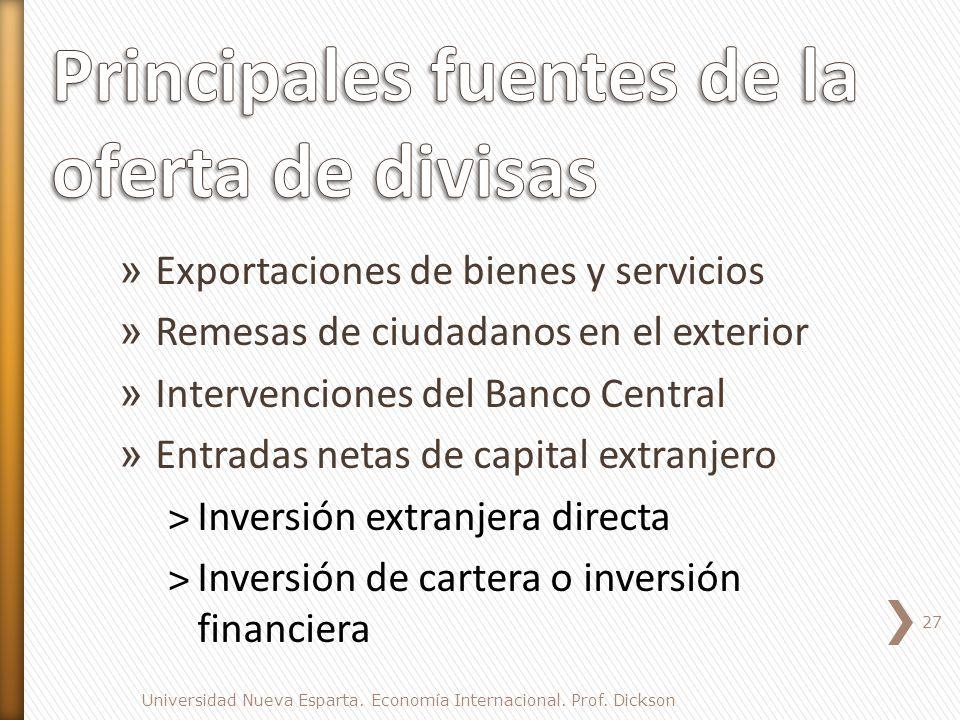 Principales fuentes de la oferta de divisas