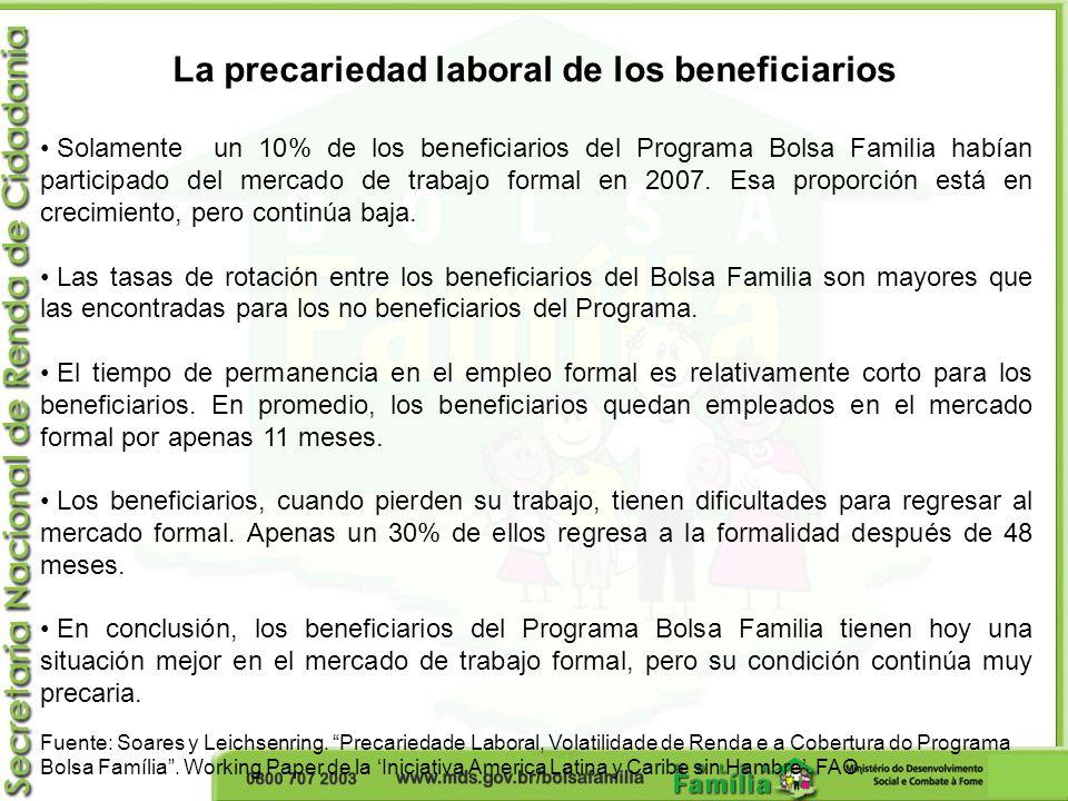 La precariedad laboral de los beneficiarios