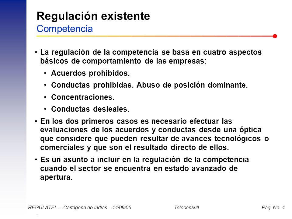 Regulación existente Competencia