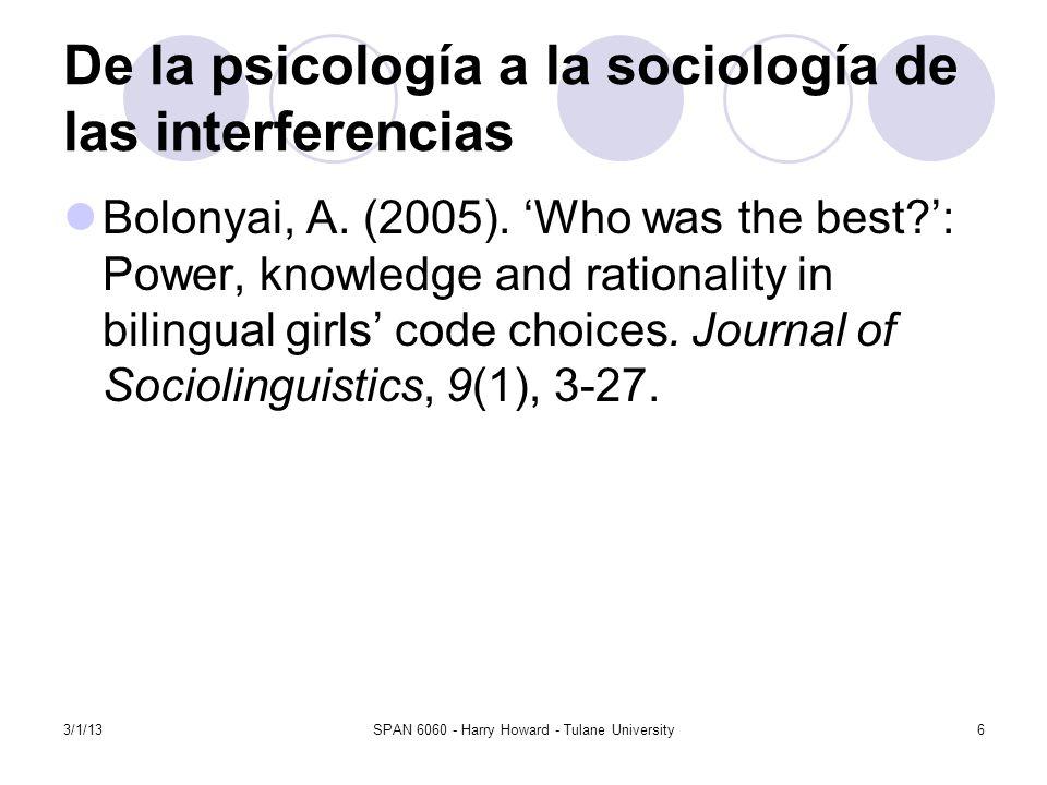 De la psicología a la sociología de las interferencias