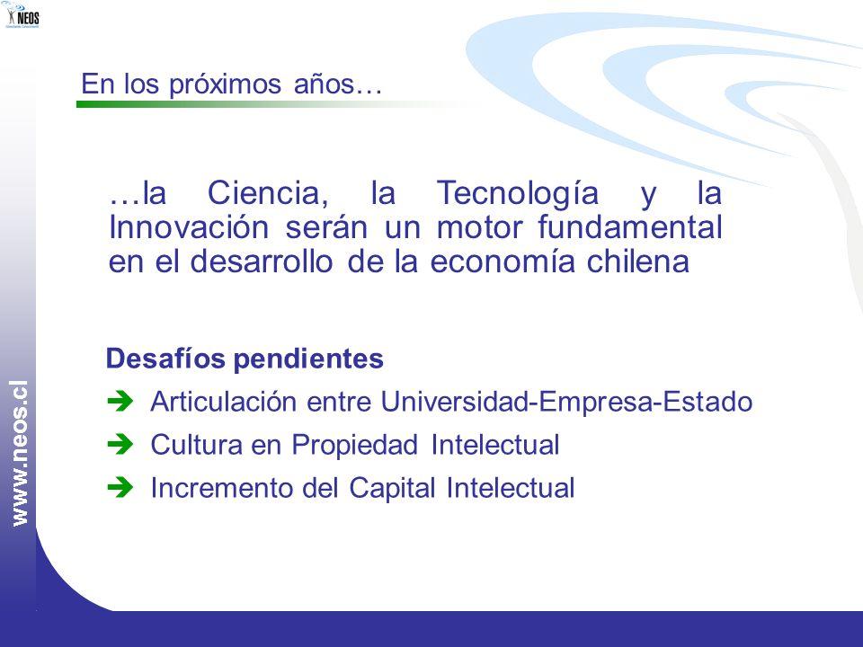 www.neos.cl En los próximos años… …la Ciencia, la Tecnología y la Innovación serán un motor fundamental en el desarrollo de la economía chilena.