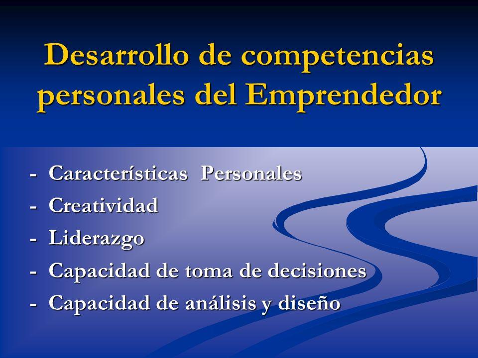 Desarrollo de competencias personales del Emprendedor
