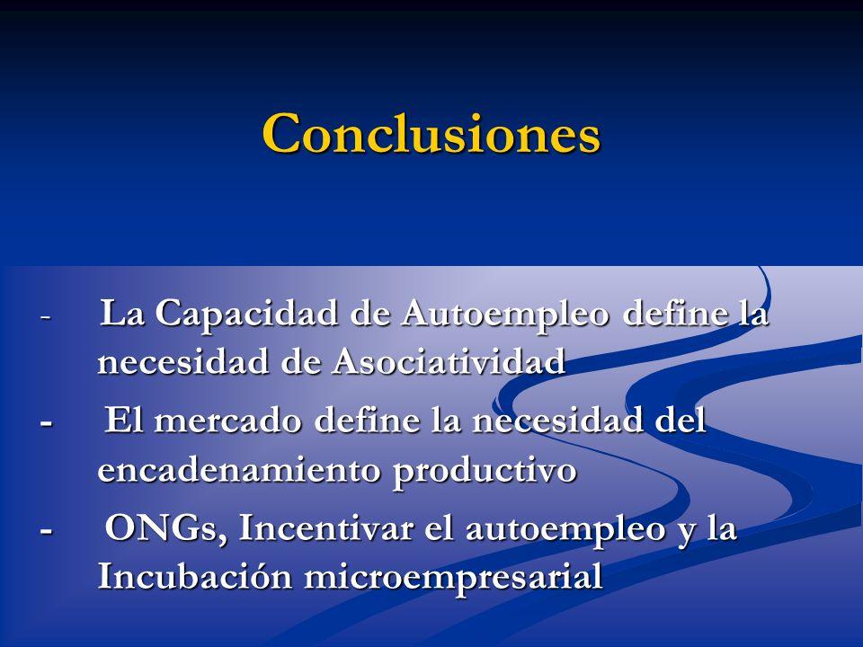 Conclusiones - La Capacidad de Autoempleo define la necesidad de Asociatividad.