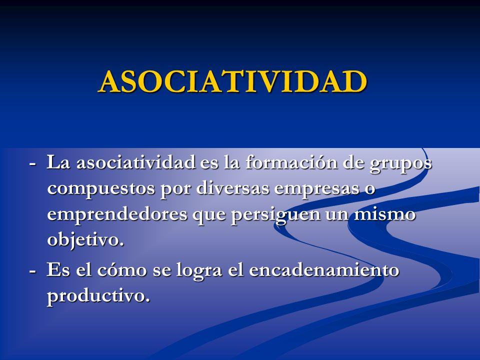 ASOCIATIVIDAD - La asociatividad es la formación de grupos compuestos por diversas empresas o emprendedores que persiguen un mismo objetivo.
