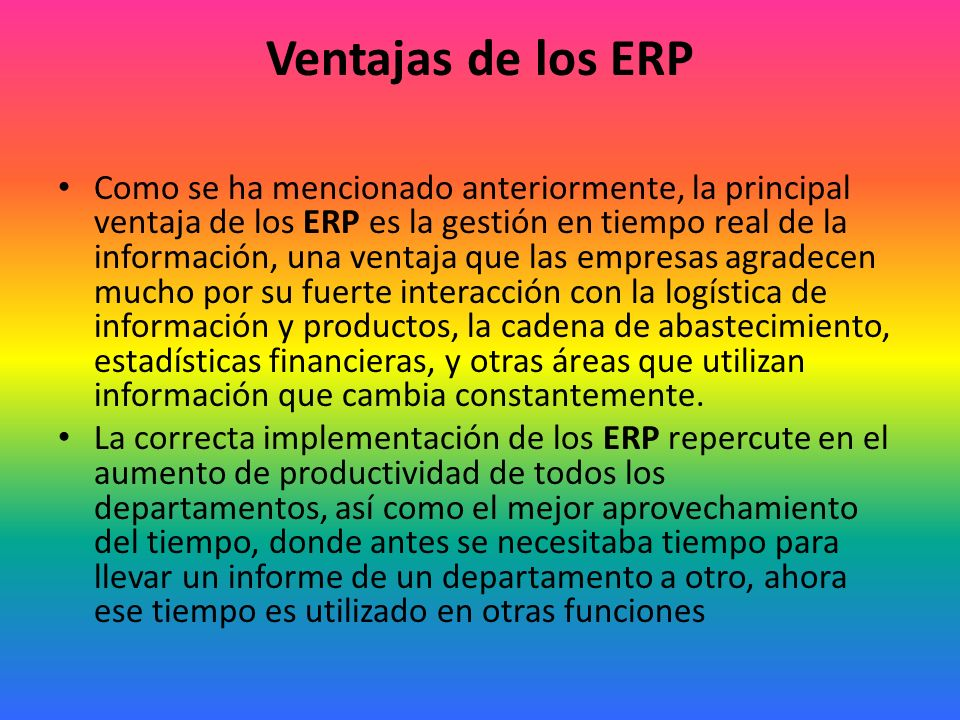 Ventajas de los ERP