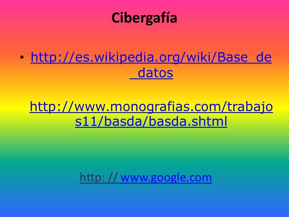 Cibergafía http://es.wikipedia.org/wiki/Base_de_datos