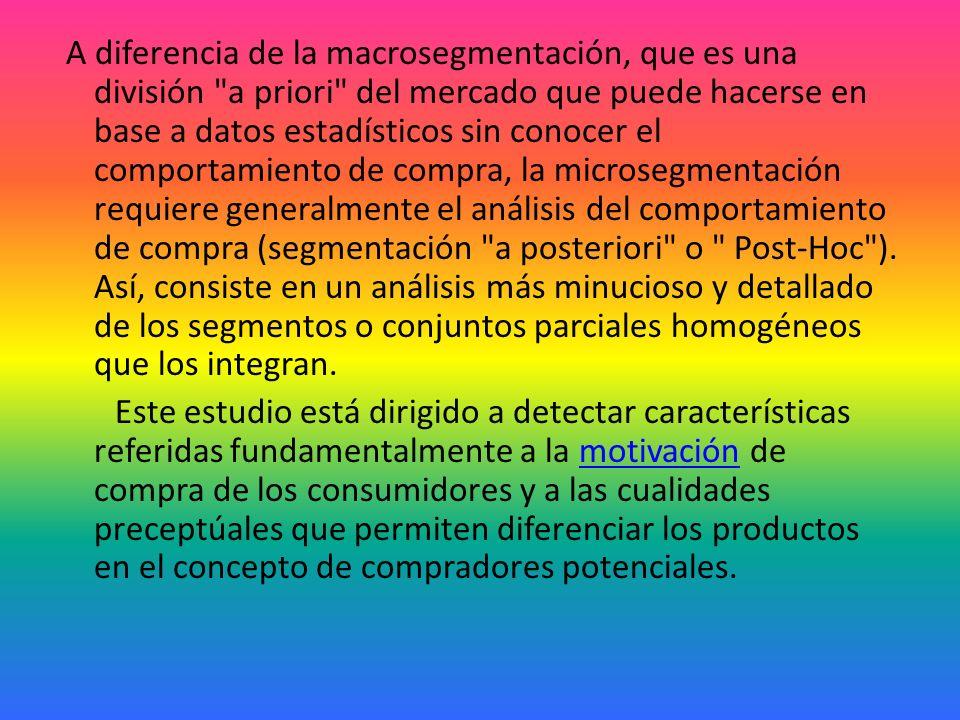 A diferencia de la macrosegmentación, que es una división a priori del mercado que puede hacerse en base a datos estadísticos sin conocer el comportamiento de compra, la microsegmentación requiere generalmente el análisis del comportamiento de compra (segmentación a posteriori o Post-Hoc ).