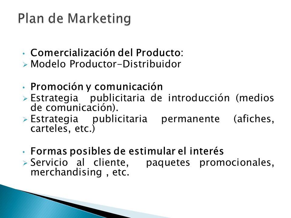 Plan de Marketing Comercialización del Producto: