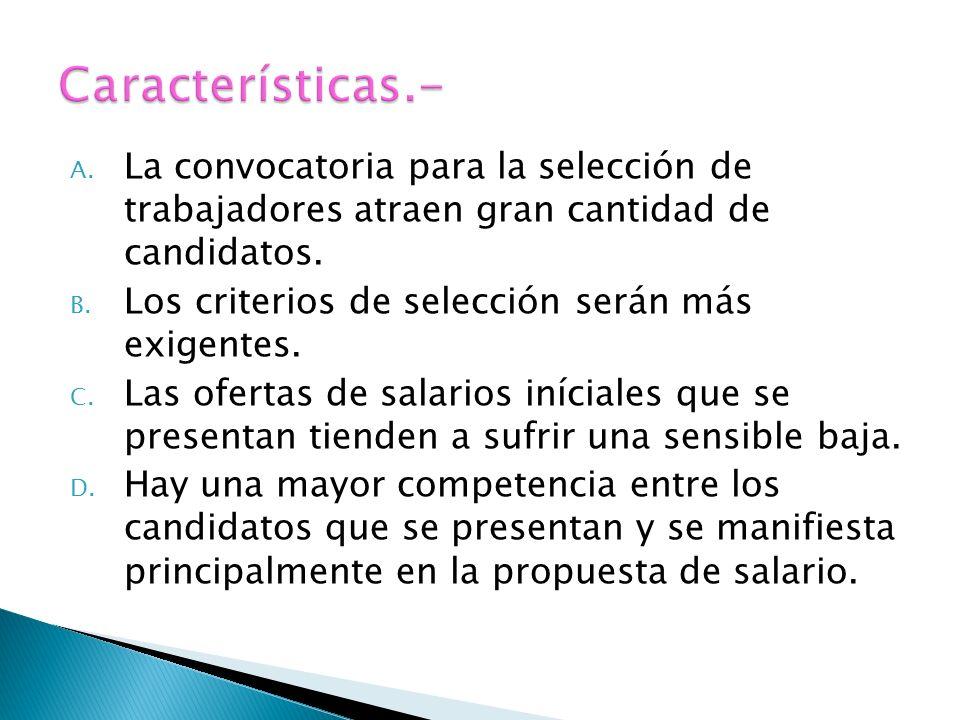 Características.- La convocatoria para la selección de trabajadores atraen gran cantidad de candidatos.