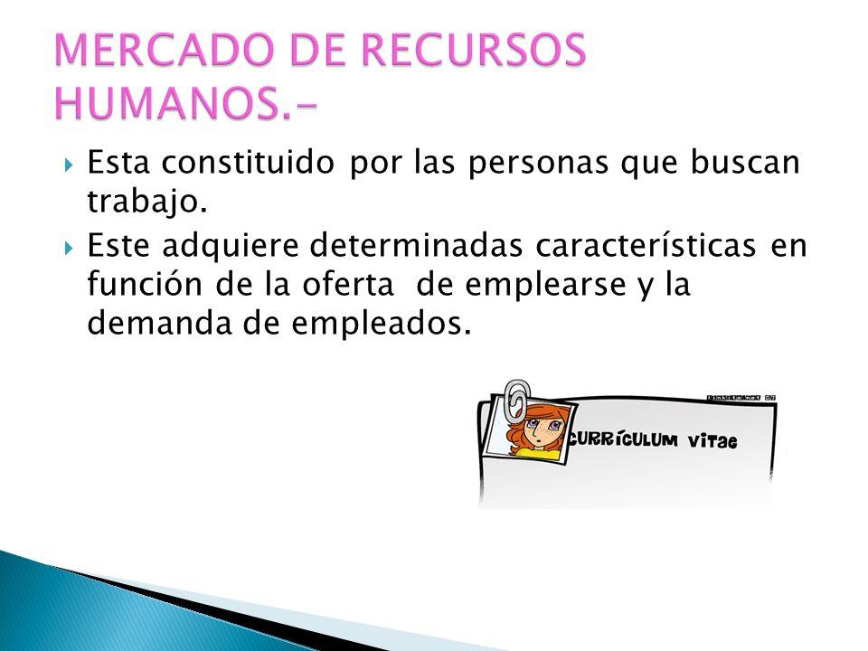 MERCADO DE RECURSOS HUMANOS.-