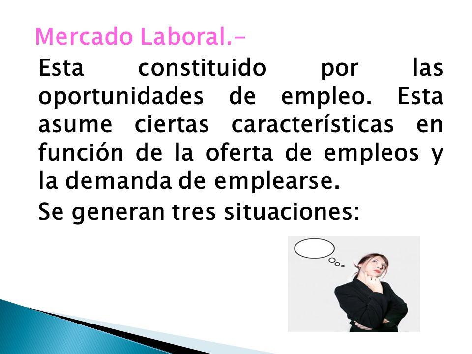 Mercado Laboral. - Esta constituido por las oportunidades de empleo