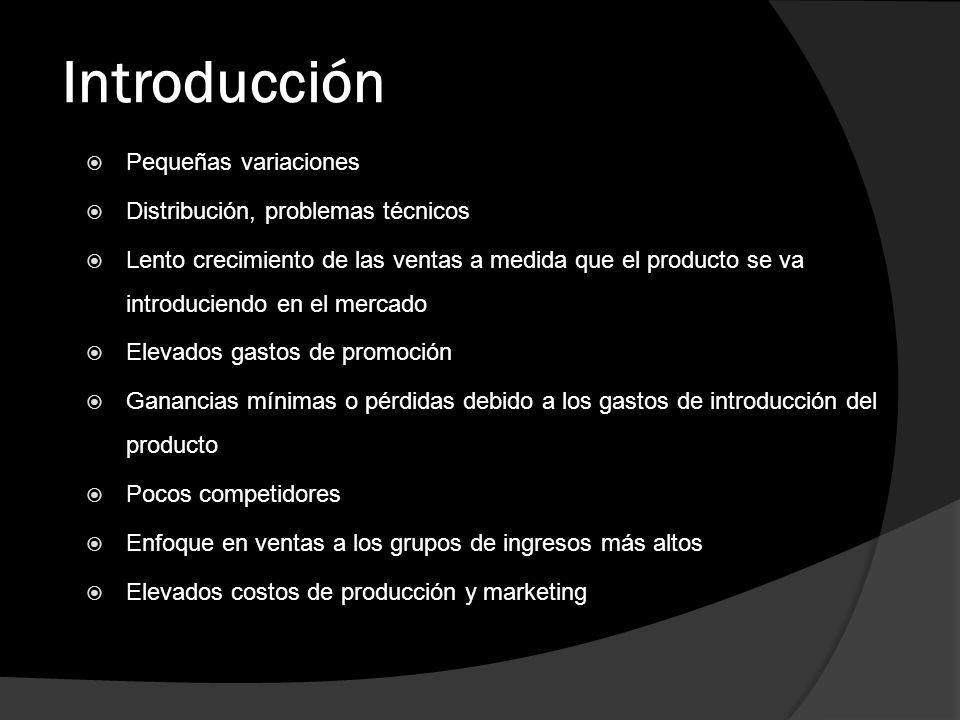 Introducción Pequeñas variaciones Distribución, problemas técnicos