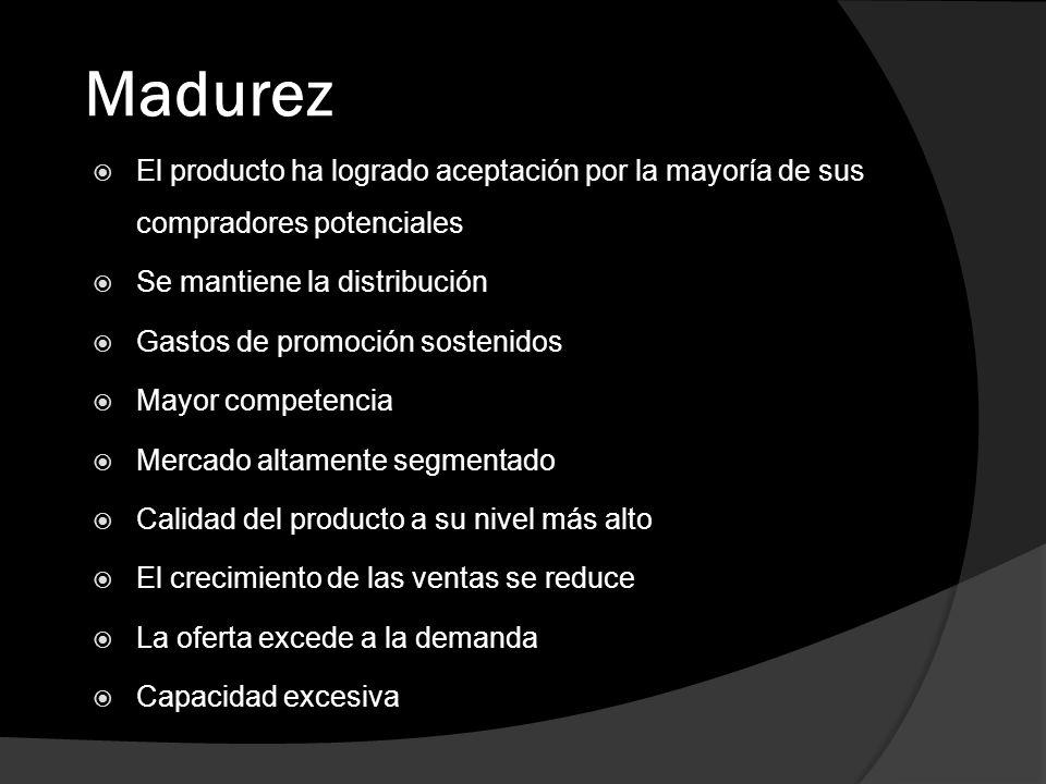 Madurez El producto ha logrado aceptación por la mayoría de sus compradores potenciales. Se mantiene la distribución.