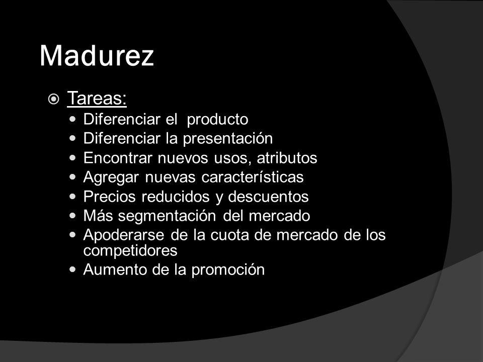 Madurez Tareas: Diferenciar el producto Diferenciar la presentación