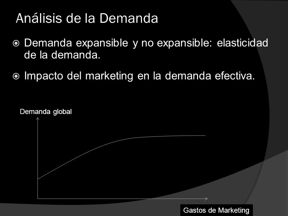 Análisis de la Demanda Demanda expansible y no expansible: elasticidad de la demanda. Impacto del marketing en la demanda efectiva.