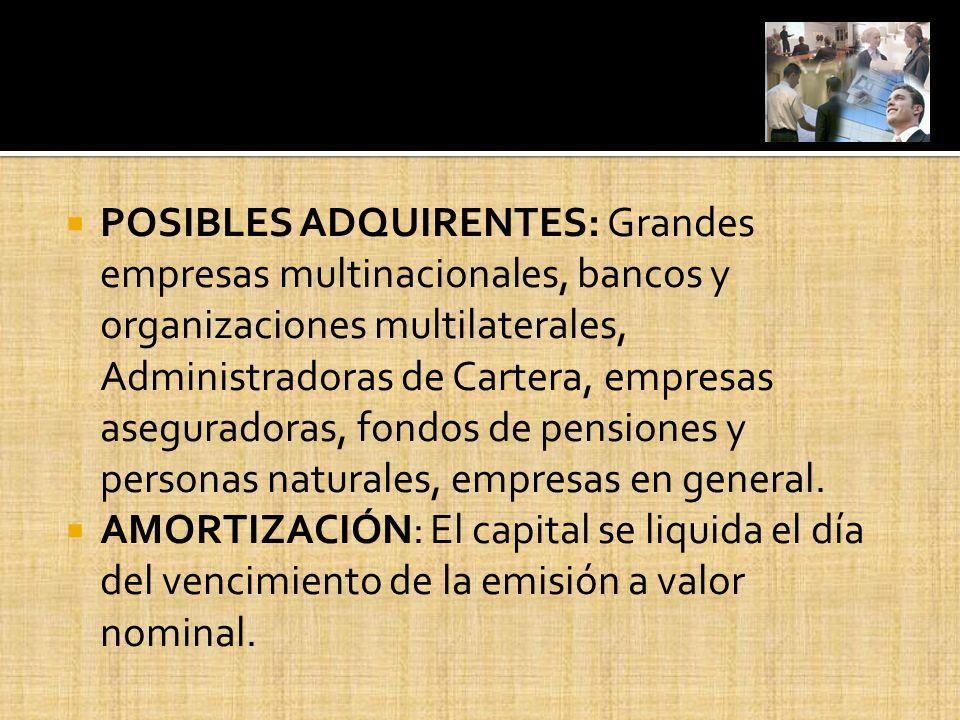 POSIBLES ADQUIRENTES: Grandes empresas multinacionales, bancos y organizaciones multilaterales, Administradoras de Cartera, empresas aseguradoras, fondos de pensiones y personas naturales, empresas en general.