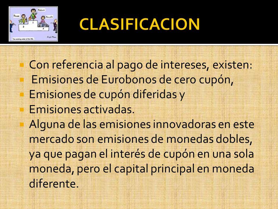 CLASIFICACION Con referencia al pago de intereses, existen: