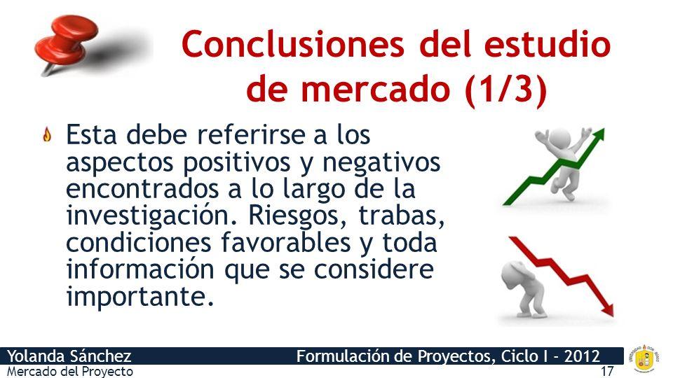 Conclusiones del estudio de mercado (1/3)
