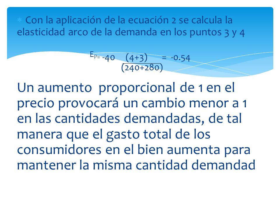 Con la aplicación de la ecuación 2 se calcula la elasticidad arco de la demanda en los puntos 3 y 4