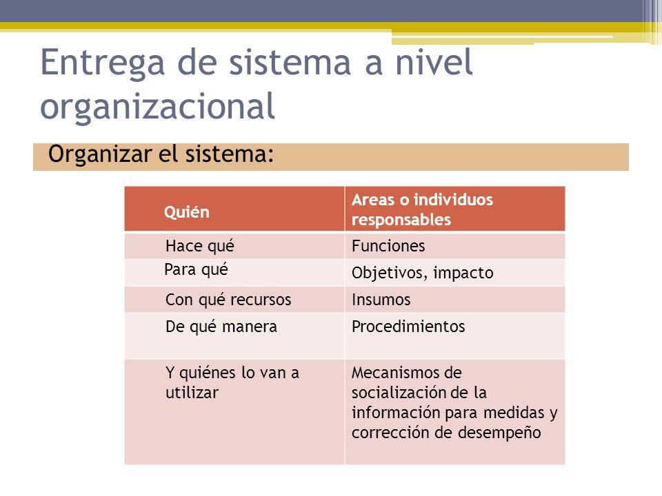 Entrega de sistema a nivel organizacional