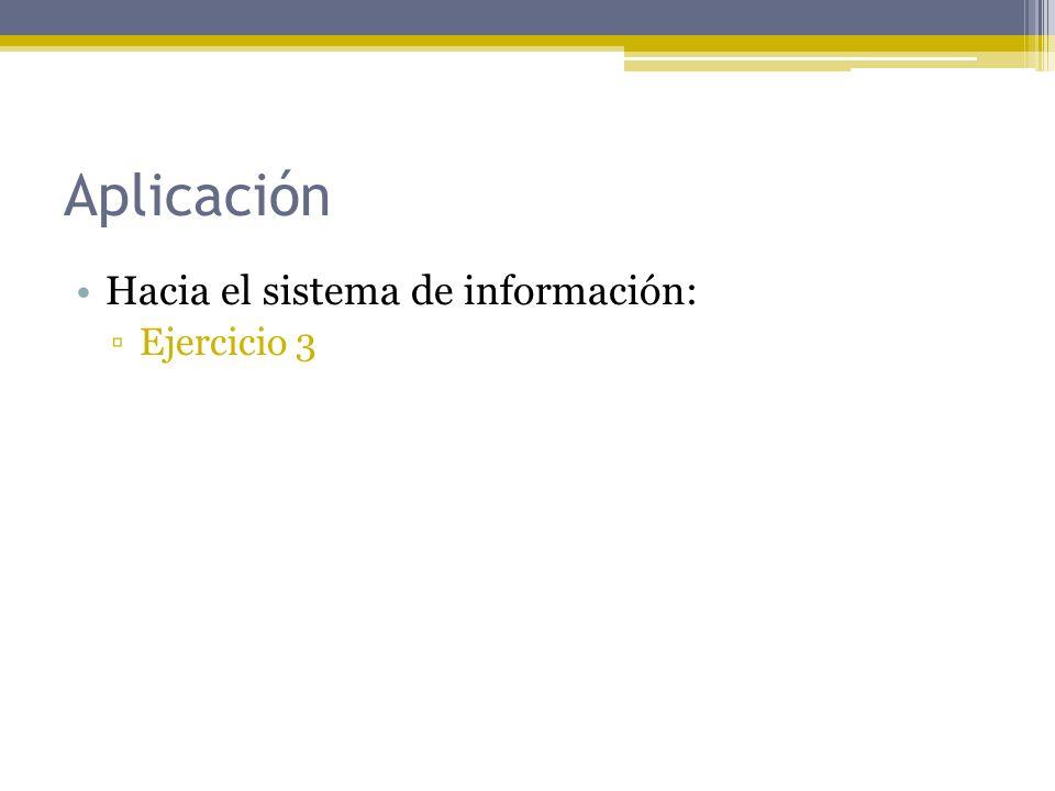 Aplicación Hacia el sistema de información: Ejercicio 3