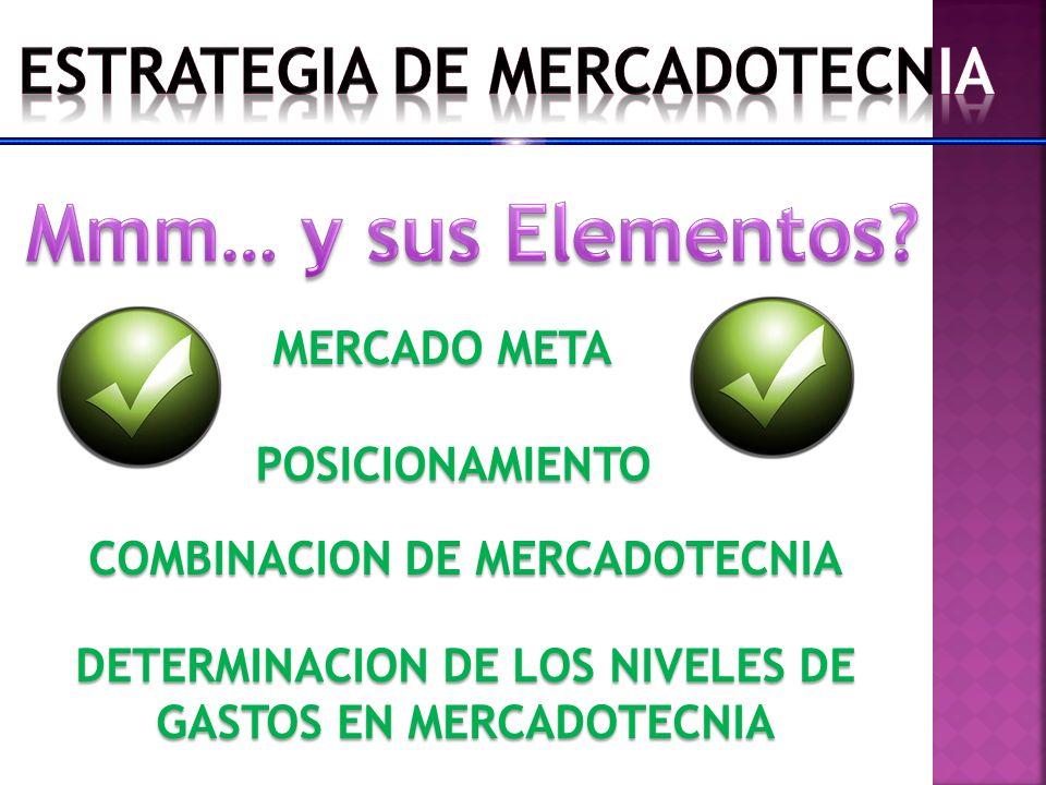 Mmm… y sus Elementos ESTRATEGIA DE MERCADOTECNIA MERCADO META