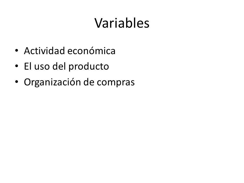 Variables Actividad económica El uso del producto