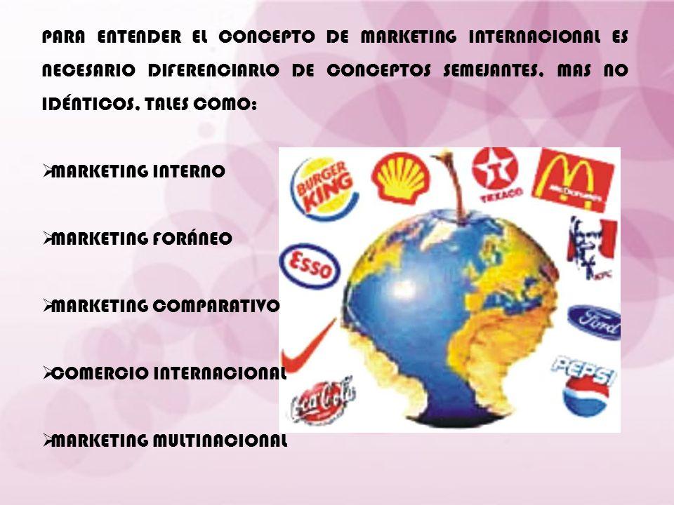 PARA ENTENDER EL CONCEPTO DE MARKETING INTERNACIONAL ES NECESARIO DIFERENCIARLO DE CONCEPTOS SEMEJANTES, MAS NO IDÉNTICOS, TALES COMO: