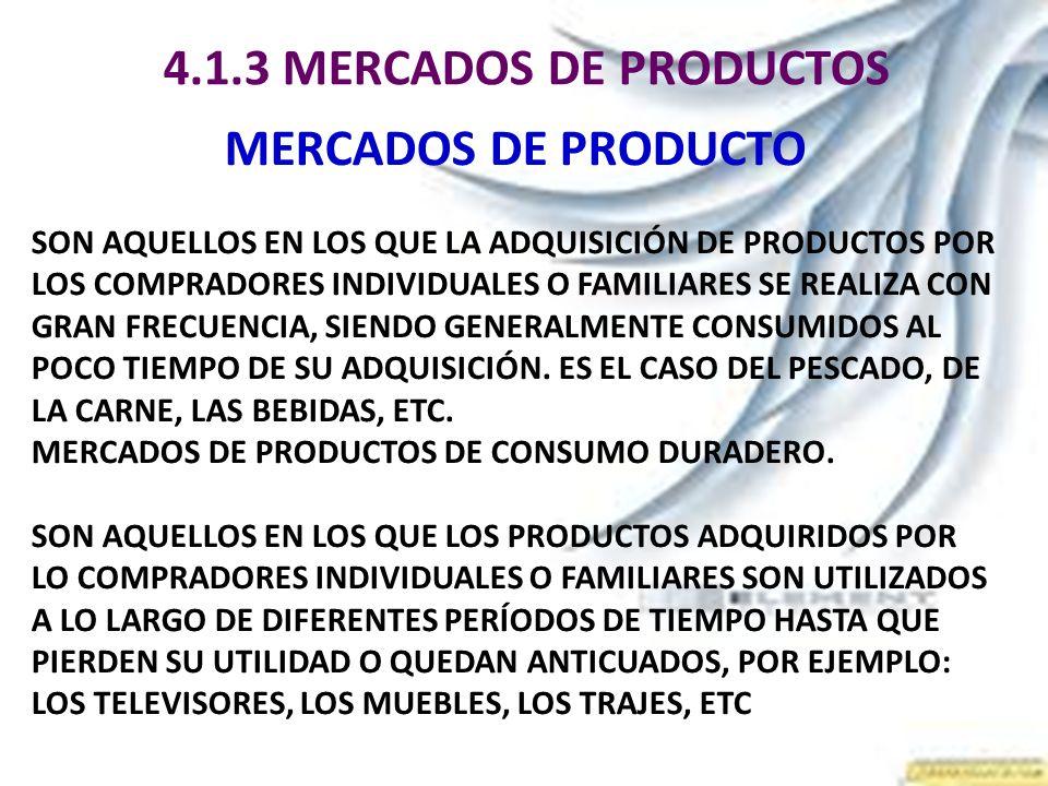 4.1.3 MERCADOS DE PRODUCTOS MERCADOS DE PRODUCTO