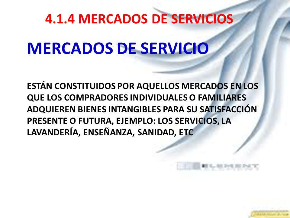 MERCADOS DE SERVICIO 4.1.4 MERCADOS DE SERVICIOS