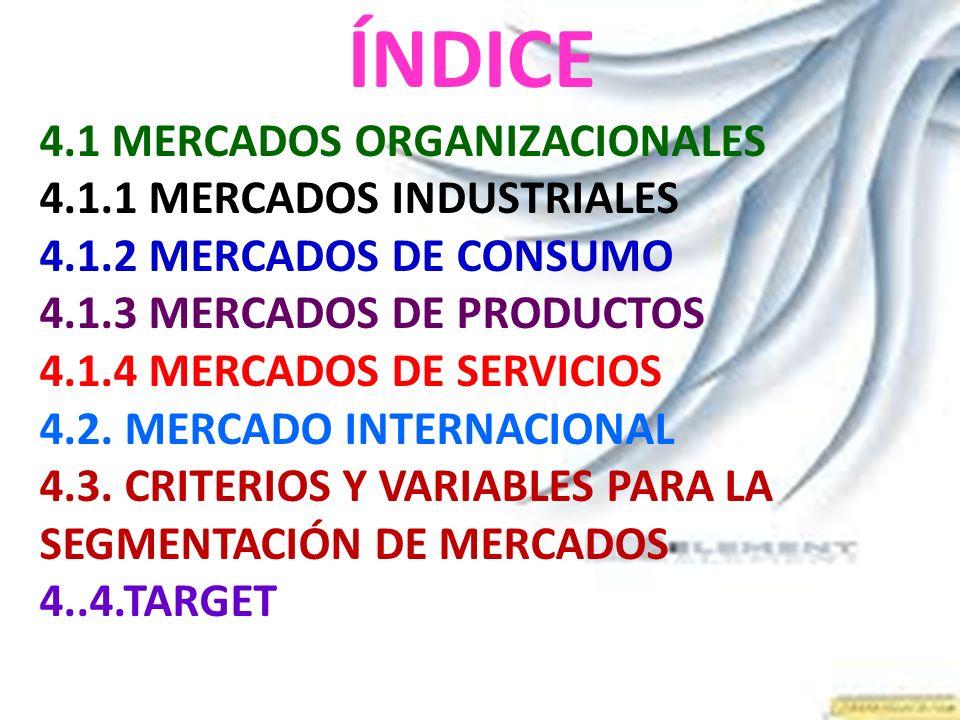 ÍNDICE 4.1 MERCADOS ORGANIZACIONALES 4.1.1 MERCADOS INDUSTRIALES