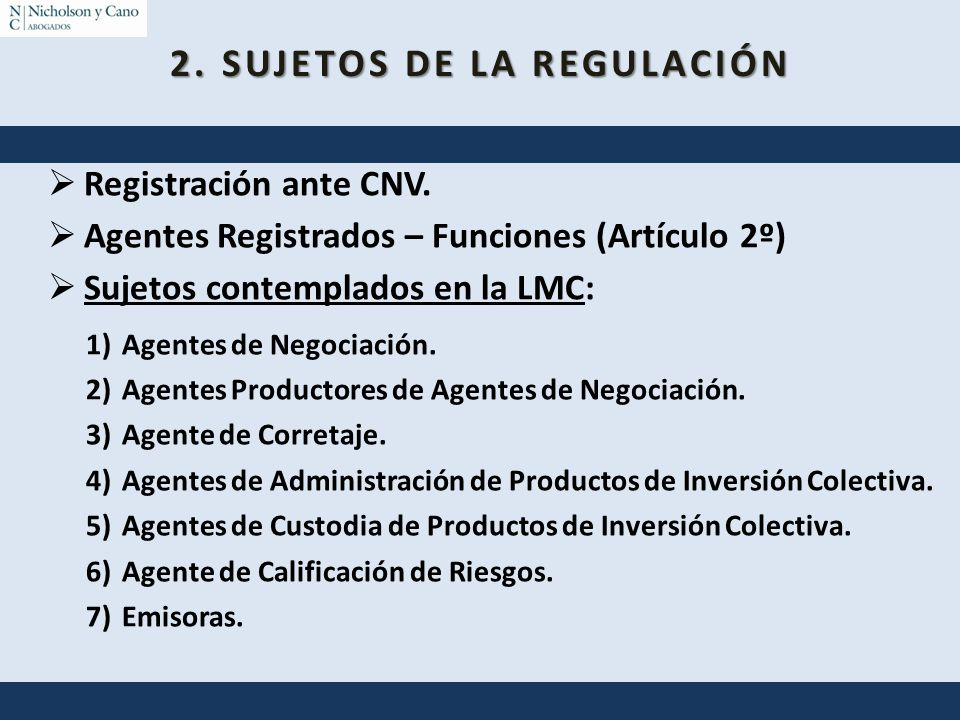 2. SUJETOS DE LA REGULACIÓN
