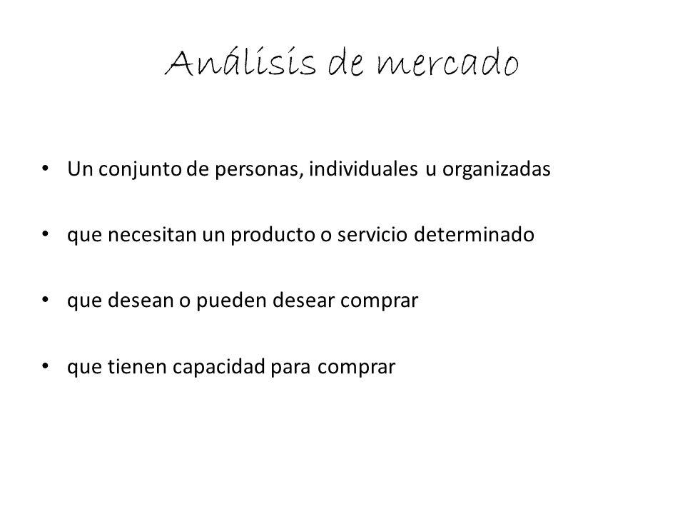 Análisis de mercado Un conjunto de personas, individuales u organizadas. que necesitan un producto o servicio determinado.