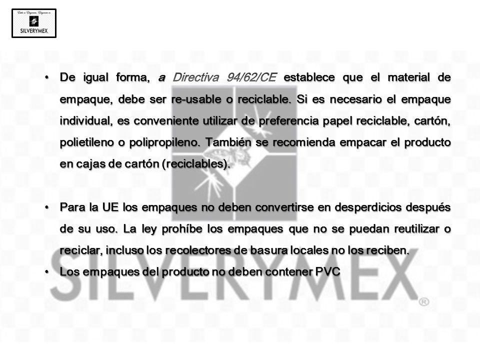 De igual forma, a Directiva 94/62/CE establece que el material de empaque, debe ser re-usable o reciclable. Si es necesario el empaque individual, es conveniente utilizar de preferencia papel reciclable, cartón, polietileno o polipropileno. También se recomienda empacar el producto en cajas de cartón (reciclables).