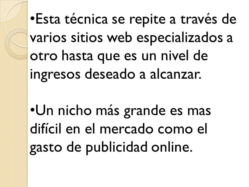 Esta técnica se repite a través de varios sitios web especializados a otro hasta que es un nivel de ingresos deseado a alcanzar.