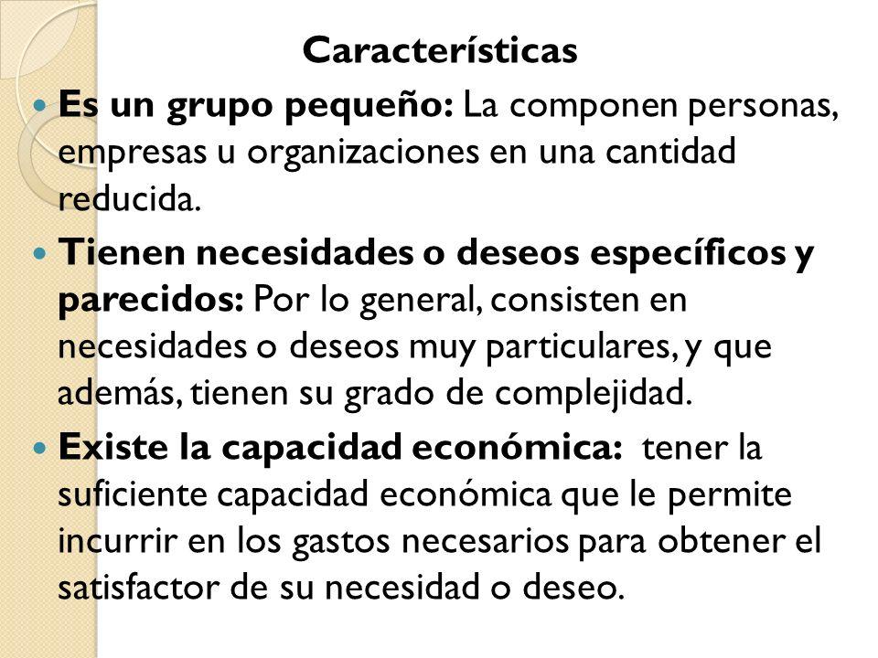 Características Es un grupo pequeño: La componen personas, empresas u organizaciones en una cantidad reducida.