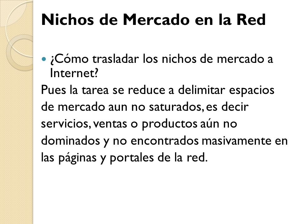 Nichos de Mercado en la Red