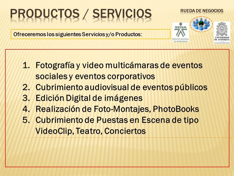 Productos / servicios Rueda de Negocios. Ofreceremos los siguientes Servicios y/o Productos: