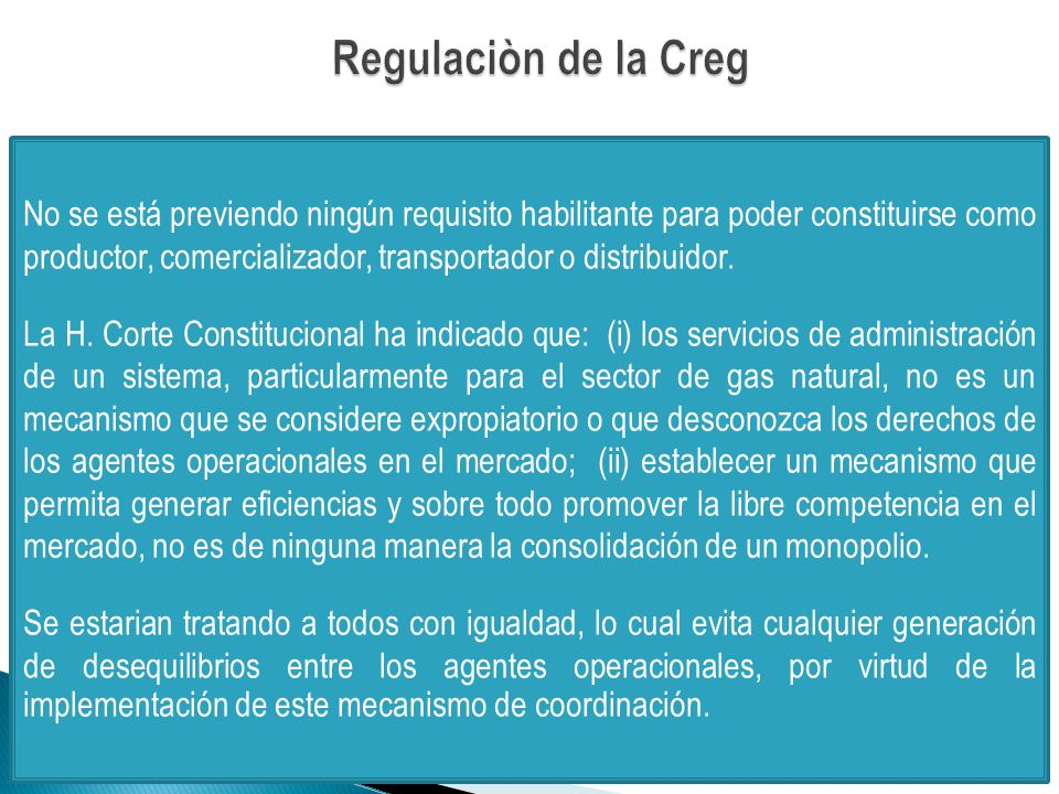 Regulaciòn de la Creg