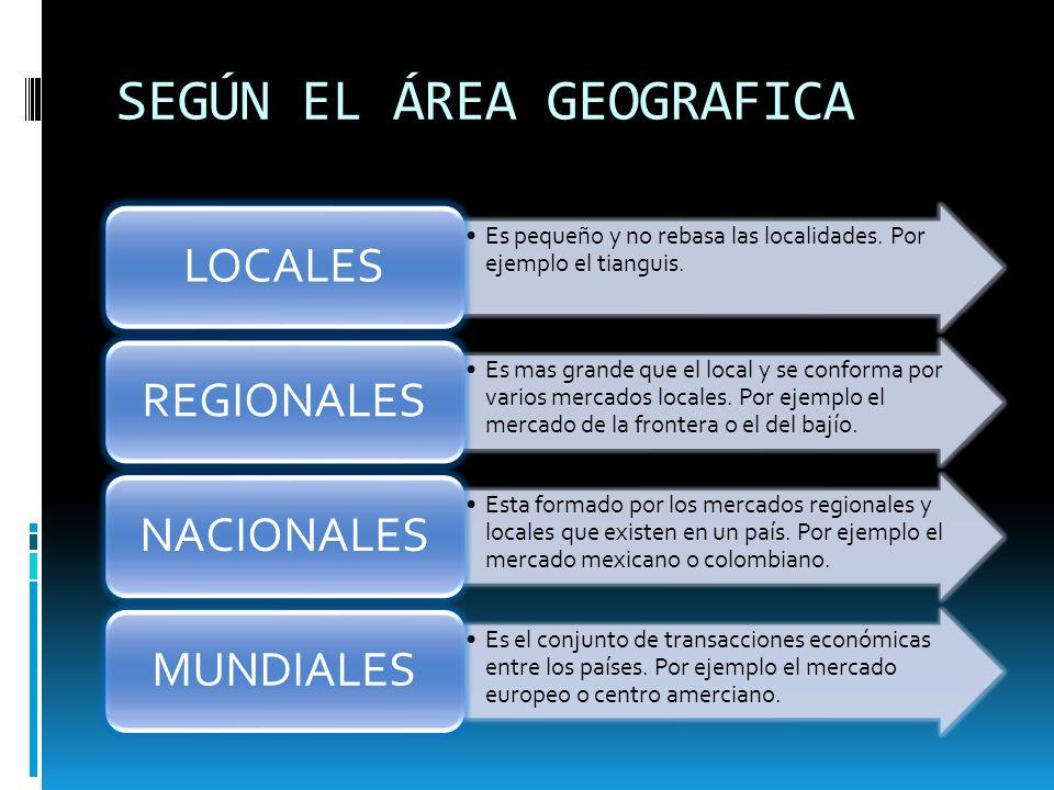 SEGÚN EL ÁREA GEOGRAFICA
