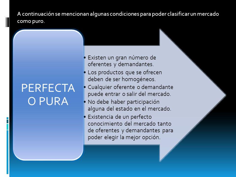 A continuación se mencionan algunas condiciones para poder clasificar un mercado como puro.